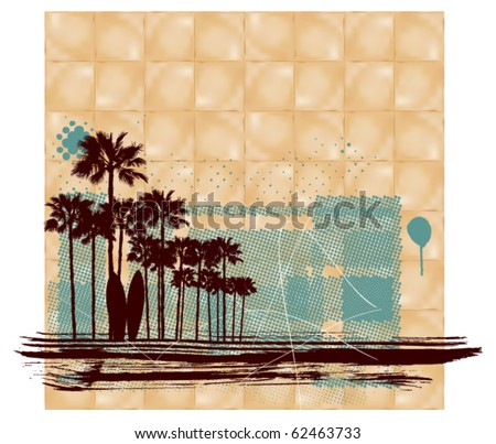 surf square scene with paper background - stock vector