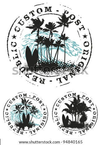 surf stamp mark with palms and big wave - stock vector