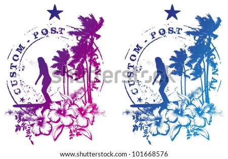 surf stamp with beauty lady surfing - stock vector