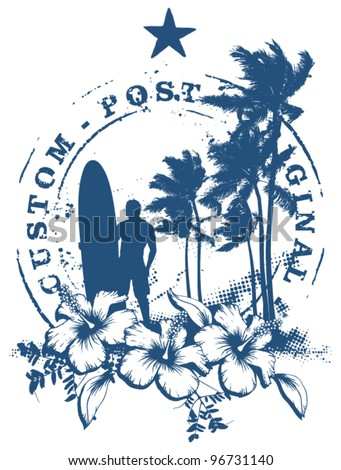 surf stamp with grunge summer background - stock vector