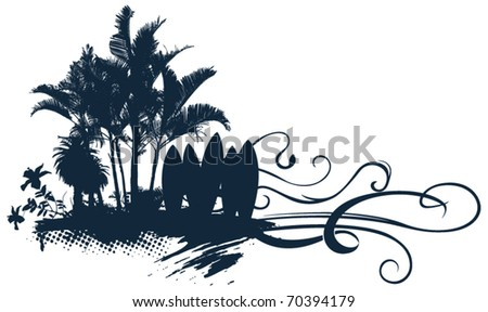 surf summer scene with flower palms and tables - stock vector