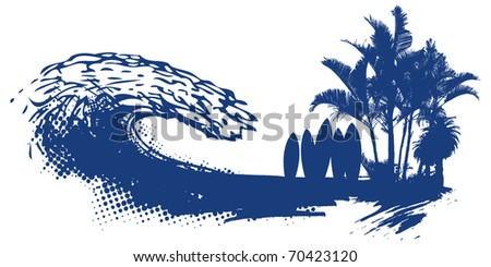surf summer scene with tables palms and grunge wave - stock vector