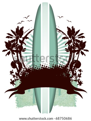 surf table shield with grunge banner - stock vector