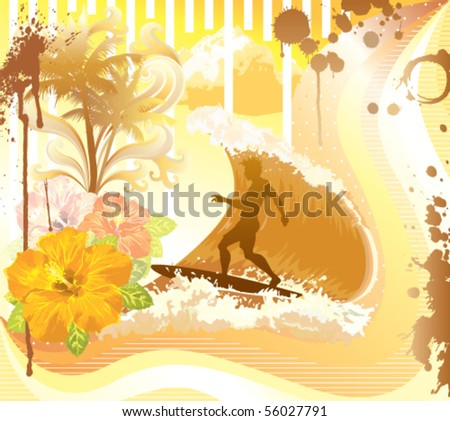 Surf time. Vector illustration. - stock vector