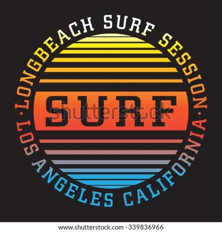 Surf typography, t-shirt graphics, vectors - stock vector