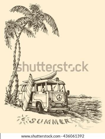 Surf van on the beach vector sketch - stock vector