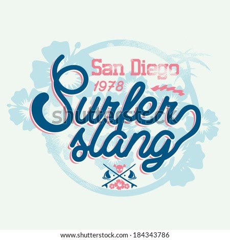 Surf Vector Graphic for apparel - T shirts - stock vector