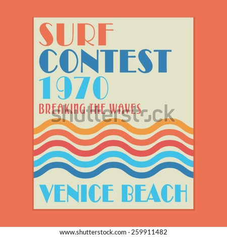 Surf Venice sport typography, t-shirt graphics, vectors - stock vector