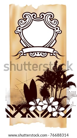 surf vertical poster with shield and summer scene - stock vector