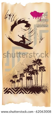 surf vertical poster with surfer wave and beach - stock vector
