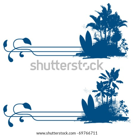 surf vignette with summer scene - stock vector