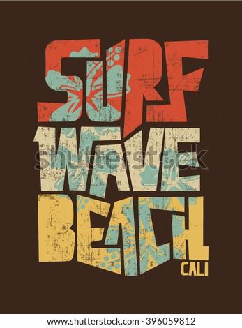 surf. vintage surf print. tee graphic design - stock vector