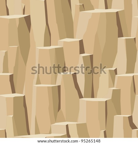 surface of cliff, peeled rock rough stone seamless - stock vector
