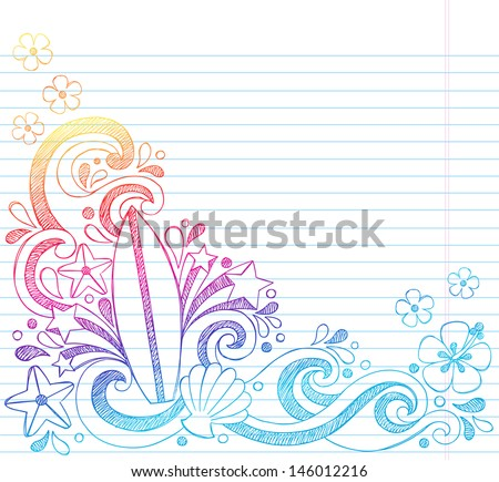 Surfboard Tropical Beach Summer Vacation Sketchy Notebook Doodles- Hand Drawn Illustration on Lined Sketchbook Paper Background - stock vector