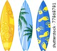 Surfboards isolated on white. Vector illustration. - stock photo