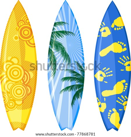 Surfboards isolated on white. Vector illustration. - stock vector