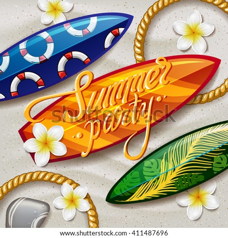 surfboards on the beach. surfboard with color pattern. creative graphic poster for your design. summer party - stock vector
