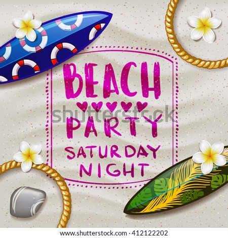 surfboards on the beach. surfboard with color pattern. creative graphic poster for your design. beach party summer party - stock vector