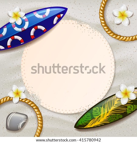 surfboards on the beach. surfboard with color pattern. creative graphic poster for your design. summer party. Vector beach with tropical flowers  - stock vector
