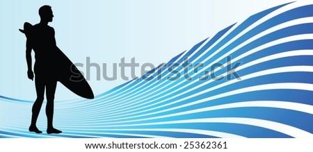 Surfer - stock vector