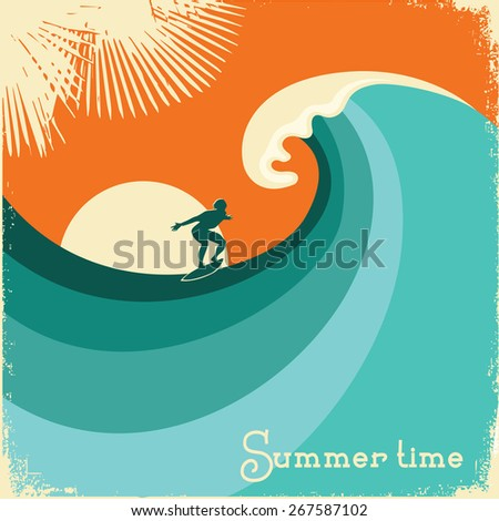Surfer and sea wave.Retro poster background on old paper texture for design - stock vector
