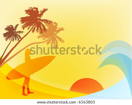 Surfer by the water - stock vector