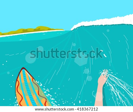Surfer engaged in extreme sports conquering the waves near the beach. Vector illustration - stock vector