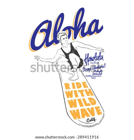 surfer illustration - stock vector