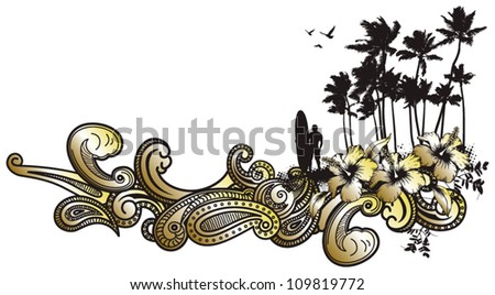 surfer in the coast - stock vector