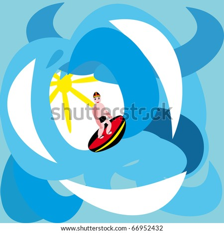 surfer in the sea.illustration.