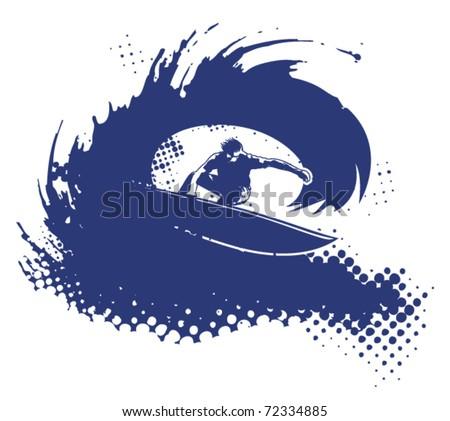 surfer in tube - stock vector