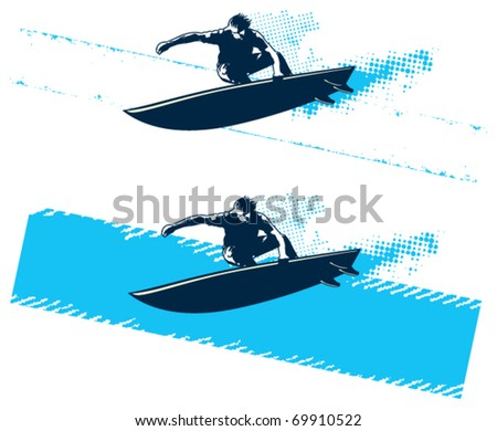 surfer jump with grunge celestial banner - stock vector