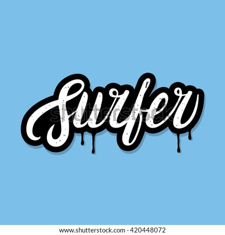 Surfing Lettering Poster Tee Print White Stock Vector