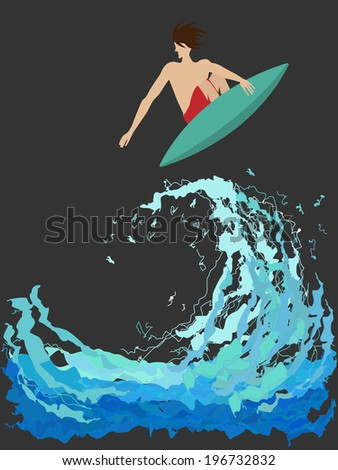 surfer on the wave. vector - stock vector