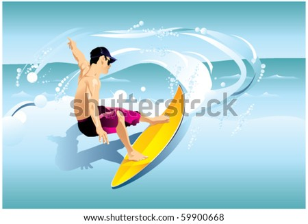Surfer on Wave - stock vector