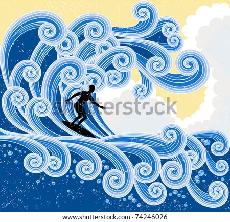 Surfer rides on a big stylized  wave. - stock vector
