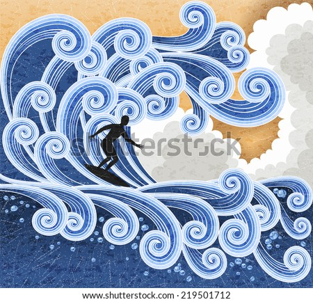 Surfer rides on a big stylized wave. Retro stile illustration. EPS 10 contains transparency - stock vector