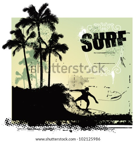 surfer riding a big wave in the coast - stock vector