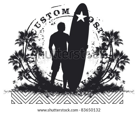 surfer shield with grunge style and summer background - stock vector