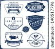 surfer vector set.vintage surf elements.vector retro surf label set.fishing set.sea store vector elements. - stock photo