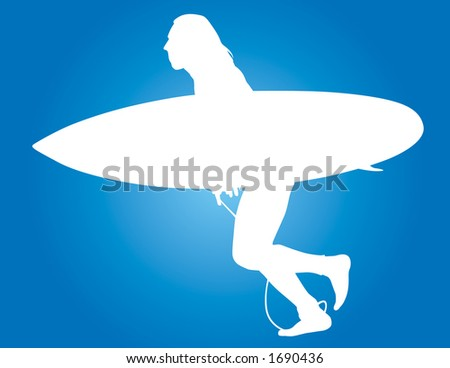 Surfer vector silhouette running with board in hand. - stock vector