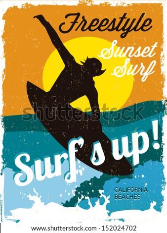 Surfer vintage poster - stock vector