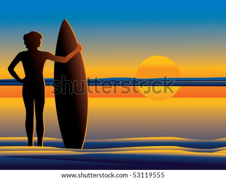 Surfer watching sunset vector - stock vector