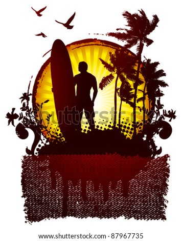 surfer with sunset and summer background - stock vector