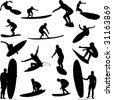 surfers collection - vector - stock vector