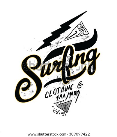 surfing artwork for clothing 2 - stock vector