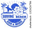 Surfing beach grunge rubber stamp with palms, hibiscus flowers and surfer, vector illustration - stock vector