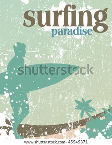 surfing poster - stock vector