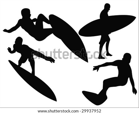 surfing silhouettes - stock vector