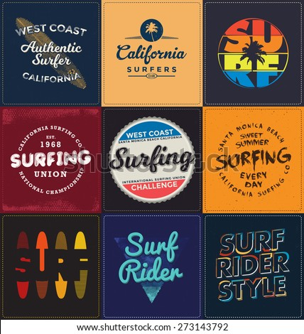 Surfing Themed Collection - Typographic Design Set - Classic look ideal for screen print shirt design - stock vector